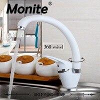 YANKSMART White Painting Water Mixer 360 Swivel Degree Rotation Kitchen Faucet Single Handle For Kitchen Basin