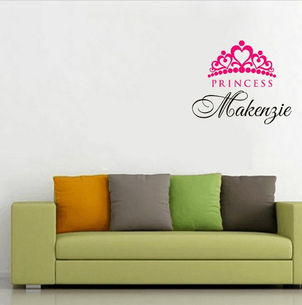 Special Personalized Custom wall sticker Girl Name Crown Princess wall stickers home decor room decorative Vinyl wall decal-in Wall Stickers from Home ... & Special Personalized Custom wall sticker Girl Name Crown Princess ...