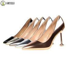 2019 Luxury Woman Pumps High Heels Silver Sexy Elegant Shoes for Women Stilettos Fashion Wedding Party Big Size