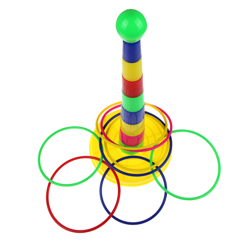 Ring toss games for kids - Children Colored Rings Puzzle Toy Colorful Hoopla Ring Toss Cast Circle Sets Intelligence Educational Toy For Children Play Game