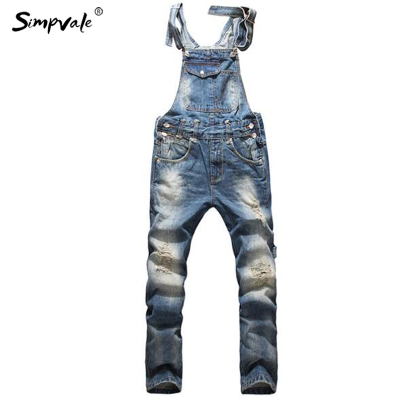 SIMPVALE European American Style Fashion Men Hip Hop Overalls Pants Skinny Overalls Ripped Jeans Plus Size Denim Jumpsuit 2014 new fashion reminisced men vintage trousers casual jeans wash capris pants loose plus size overalls zipper denim jumpsuit