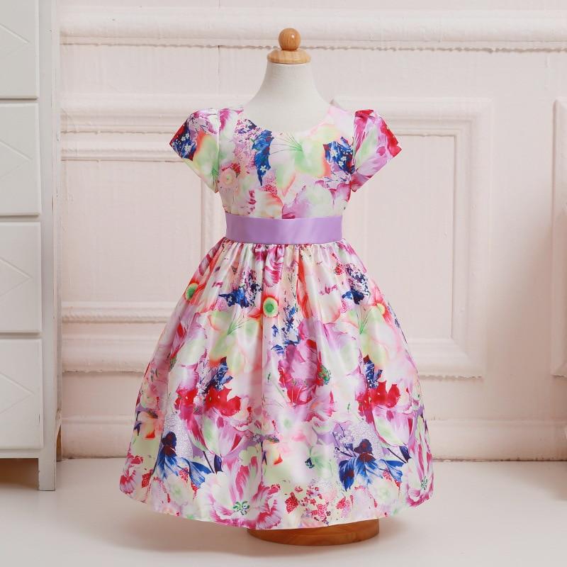 2017 Summer Brand Girls Dress Princess Floral Print Kids Frocks Girl Wedding Bohemian Look Dresses Vestidos For 2 4 6 8 10 Years виниловые обои domus parati tessuti veneziani 27745