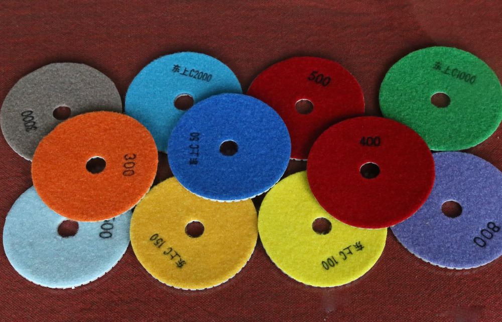 Free Shipping Of 10PCS/set 100mm Diamond Mansory Soft Wet Polishing Pad Grit  From50#-3000# With Self Adhere