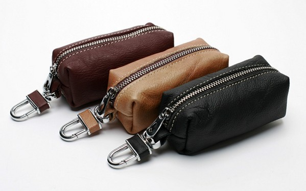 New key bag high quality leather casual car key ring free shipping high grade men and women casual key bag