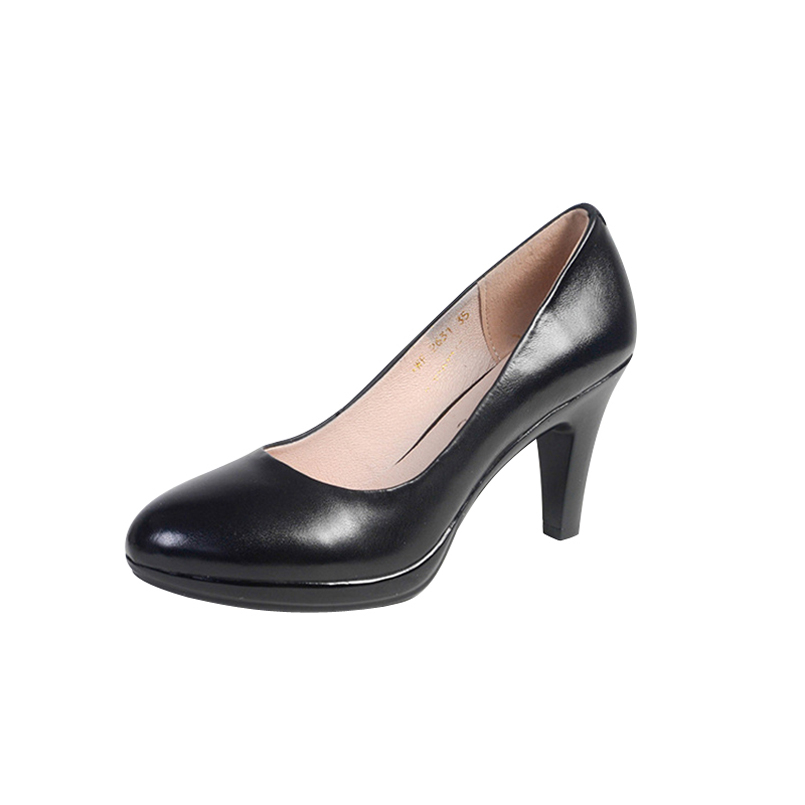 HISDERN Sexy High Heels Women Round Toe Pumps Autumn Elegant Stiletto Shoes Woman Genuine Leather Shoe Office Career Pump 2631