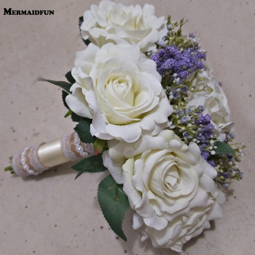 2018 Real Photos White Purple Flower Wedding Bouquet New Bridal