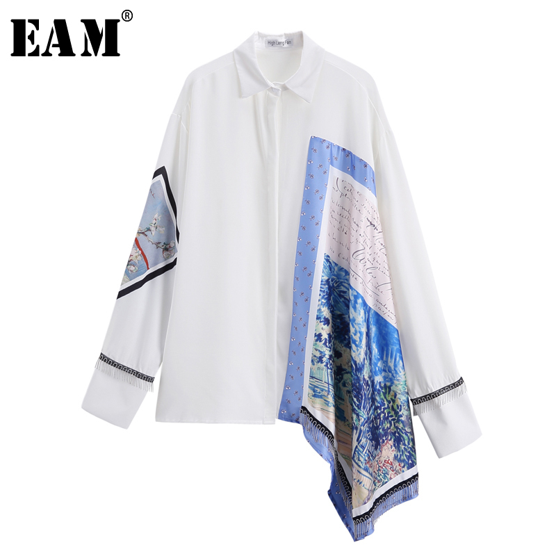 [EAM] 2019 New Autumn Winter Lapel Long Sleeve White Irregular Pattern Printed Big Size Shirt Women Blouse Fashion Tide JT636