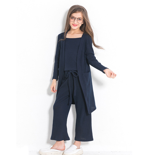 08f3e08bce1 Children s Clothing Set Casual Autumn Winter Solid Resemble Sweater 3  Pieces Suit Girl Outfits for 6789