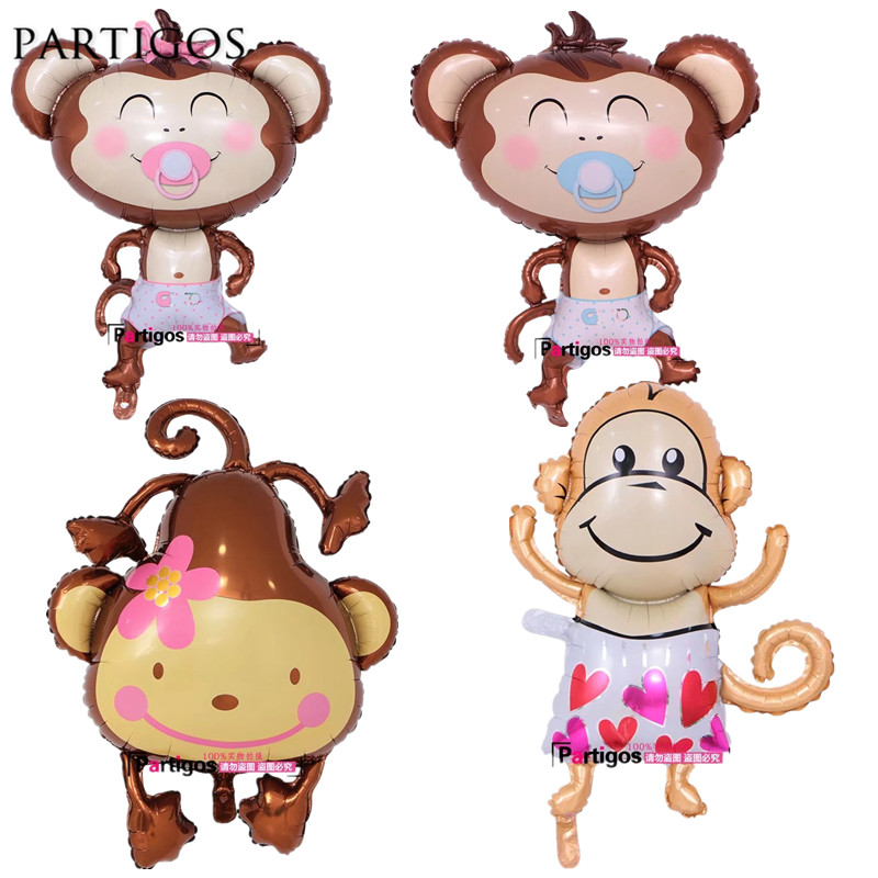 1pc Monkey Foil Helium Baby Shower Balloons Baby Child Birthday Decor Jungle Animal Theme Party Decor Kids Gifts Globos Supply
