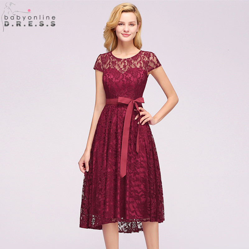 New Plus Size 2-26W Short Sleeve Lace   Cocktail     Dresses   Sexy Illusion Short Party   Dresses   With Sashes Robe De   Cocktail