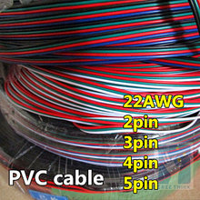 10 meters 22AWG 20AWG 18AWG LED cable,red black wire 2pin 3pin 4pin 5pin, antioxidant Tin Plated Copper Wire, strip cable.(China)