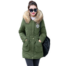 New Long Parkas Female Womens Winter Jacket Coat Thick Cotton Warm Jacket Womens Outwear Parkas Plus Size Fur Coat cheap MSFILIA 750g Casual Polyester Slim STANDARD Solid zipper Autumn Winter Jacket Women Full Button PATTERN Spliced Vintage
