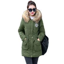 13a56ffe01c Новые Длинные парки женские зимние куртки пальто из толстого хлопка теплая  куртка женская верхняя одежда