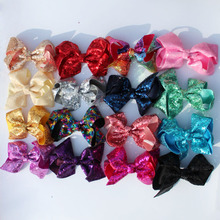 10Pcs/lot 6 Handmade Large Bling Sequin Rainbow Bows Hairgrips Sequin Hair Bows With Clips For Kids Girls Hair Accessories цена