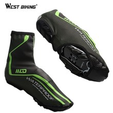 WEST BIKING Cycling Shoes Cover Waterproof Bicycle Protector Overshoes Rain Windproof Bike Overshoes Cycling Zippered Shoe Cover