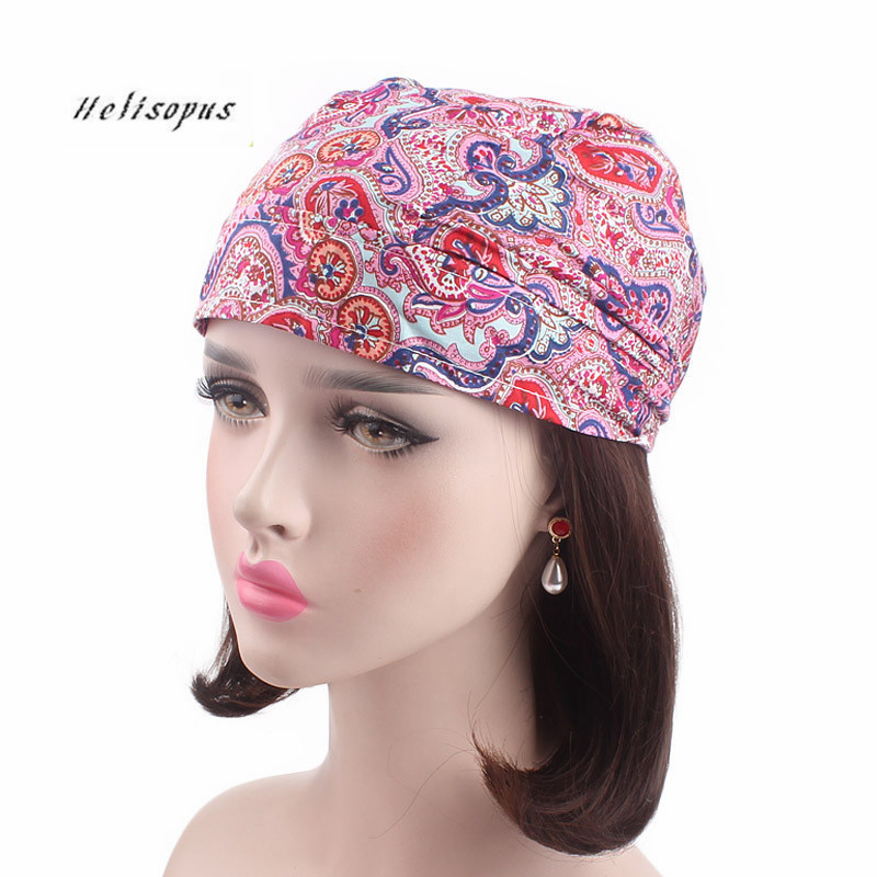 Helisopus New Cotton Head Wrap Women Printed Chemo Cap Scarf Bohemian Style Summer Hat Soft Bandanas Fashion   Headwear