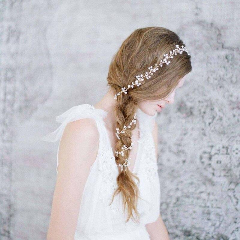 Hecho a mano magnífico cristal de plata perlas de agua dulce de la boda pelo de la vid nupcial Headpieces Headband pelo accesorios damas