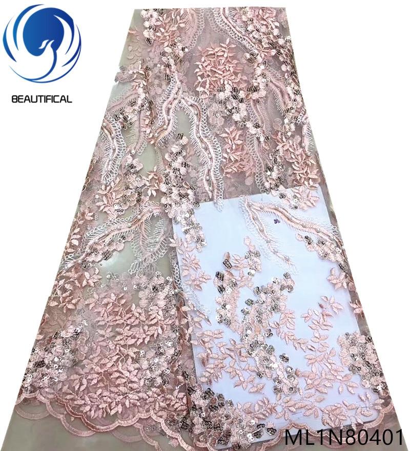 Beau tissu de dentelle brodé nigérian français net dentelle tissus tissu de dentelle européenne 5 yards/lot avec des paillettes ML1N804