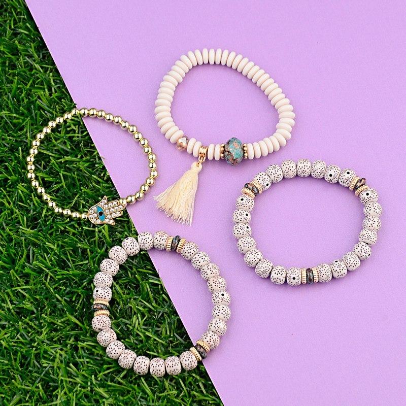 OIQUEI Vintage 4Pcs/Lot Women Bracelets Set Bohemia Charm CZ Hand Natural Stone Beads Tassel Pendents Bracelets Pour Les Femmes 2