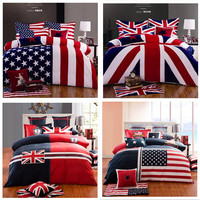 100% Cotton Fashion Home Texile American flag bedding set USA UK flag bedding queen king British flag quilt duvet cover set