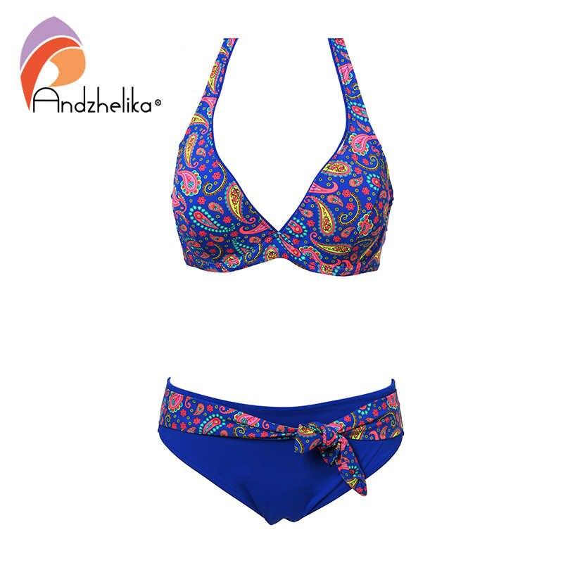 Andzhelika-Bikini retro de talla grande de mujer, traje de baño con estampado de pico profundo para playa y piscina, Bikini sexi para mujer de verano