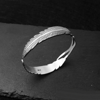 Solid 999 Sterling Silver Adjustable Feather Shape Open Cuff Bangle Bracelet for Men Women Puck Classic Rock Style Party Jewelry