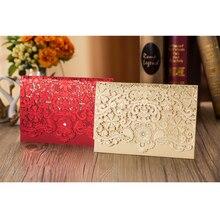 50 adet altın kırmızı lazer kesim lüks Flora zarif elmas düğün davetiyeleri kartı kişiselleştirilmiş düğün Favor etkinlik ve parti malzemeleri