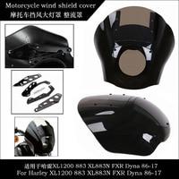 Motorcycle ABS Quarter Headlight Fairing Windshield Windscreen For Harley Sportster XL 1200 883 XL883N Dyna FXR 1986 2017