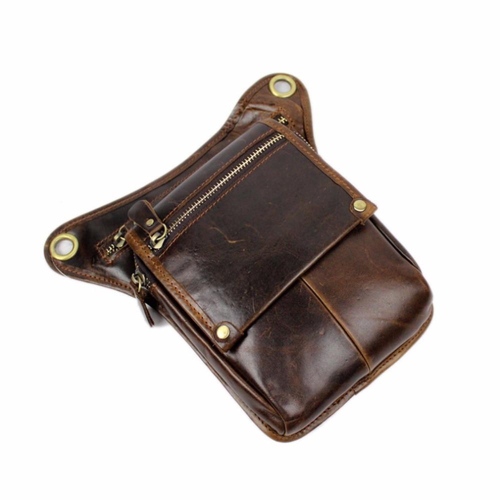 Mænds ægte læder drop ben taske cross body messenger skulder fanny - Bæltetasker - Foto 4
