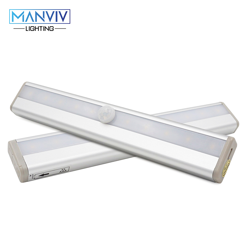 LED Motion Sensor Night Light Wireless PIR USB AAA Charging Powered LED Lamp For Cabinet Drawer Staircase Cold White Warm White cool white warm white color wireless pir motion sensor lamp super bright 10 led battery powered cabinet drawer night light