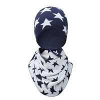 Free shipping Tou- child warmhat baby girl Christmas gift hat+scarf set Baby boy warm Knitted hat Kids premium pack 2-12T 1set