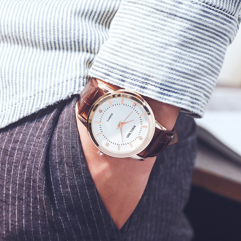 Fashion Leather Lover's Watches Simple Elegant Para Watch Brown Waterproof Couple Watches Gifts For Men/Women Clock Pareja Pair