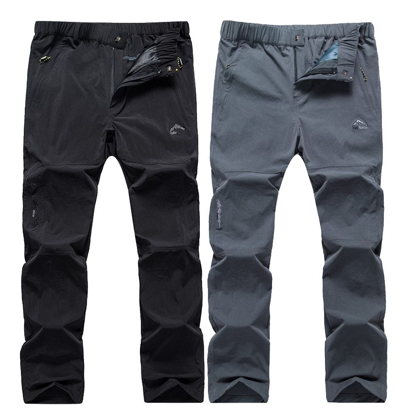 Men's Summer Hiking Thin Quick Dry Pants Elastic Waist Waterproof Outdoor Sport Climbing Camping Trekking Fishing Trousers VA551