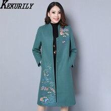 KEKURILY women cardigan wool plus size large warm jacket embroidery long 3xl 4xl female elegant vintage coat clothing