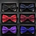 Laço vermelho gravata para os homens de casamento borboleta preta laços dos homens de negócios e do partido do ouro amarelo azul marinho homem gravata borboleta de metal decoração ângulo