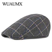 Wuaumx Autumn Winter Berets Hat Men Newsboy Caps Women Retro Artist Painter Visors Mens Beret Cap Plaid Herringbone Flat
