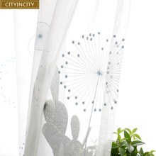 CITYINCITY White Curtains For livingroom elegant Embroidered Curtain for Kitchen modern Dandelion ready made curtain Customized