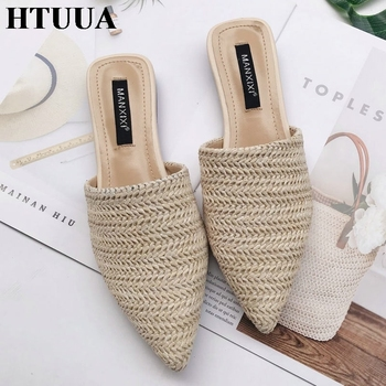 HTUUA 2019 Women Slippers Fashion Pointed Toe Weave Mules Shoes Flat Slides Summer Beach Flip Flop Outside Slip On Shoes SX1964 1