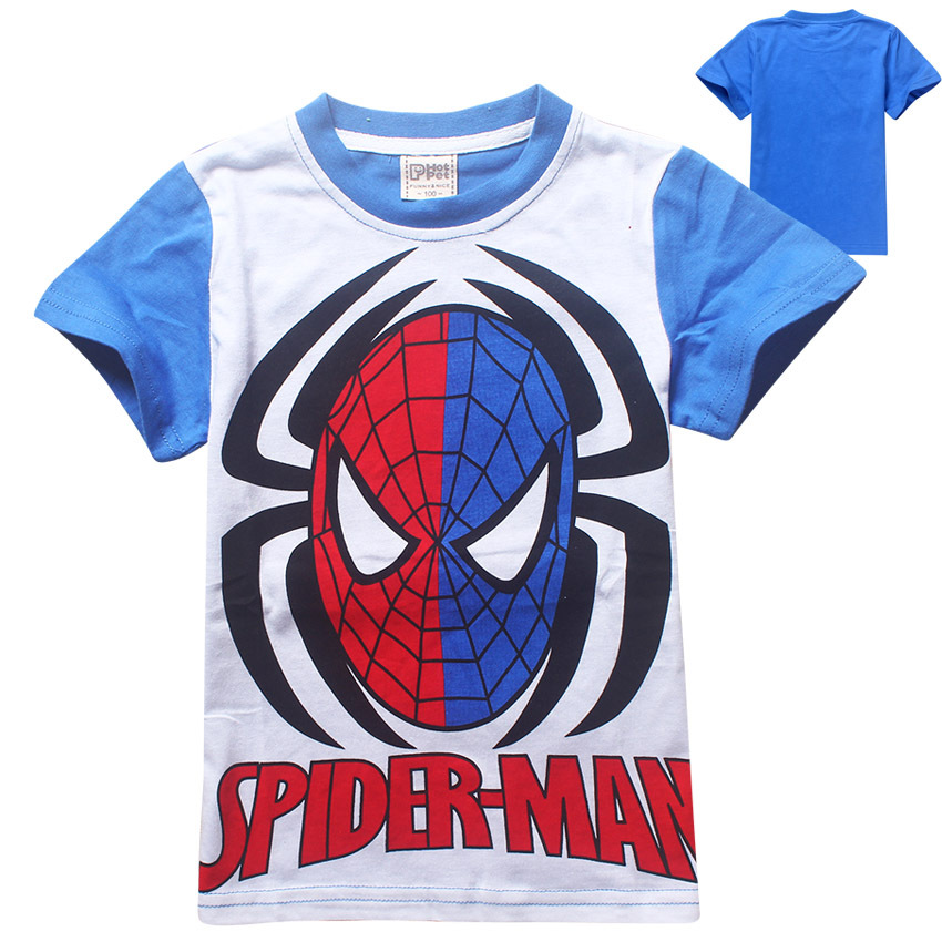 New Spiderman Boys T-shirt Summer Character Brand Spider-Man Kids Shirt Short Sleeved Cotton Children Clothing For 3-9 Years old