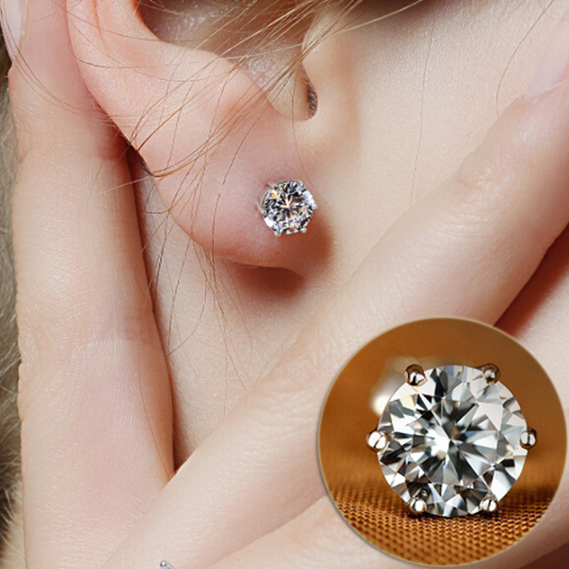 Hot AAA+ Simple New Design Rhinestones Crystal Silver Stud Earrings  Piercing Ear Studs For Women Wedding Party Gift