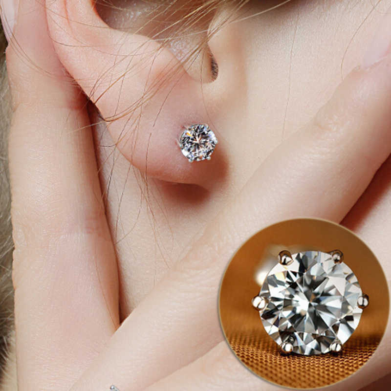 Hot AAA+ Simple New Design Rhinestones Crystal Silver Stud Earrings  Piercing Ear Studs for Women Wedding Party Gift