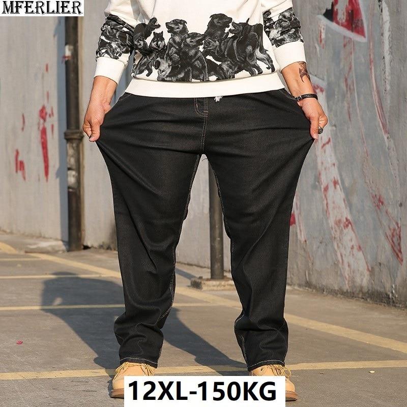 large size men jeans 9XL 10XL autumn casual Trousers pants high waist high street Elasticity straight 8XL jeans autumn Stretch