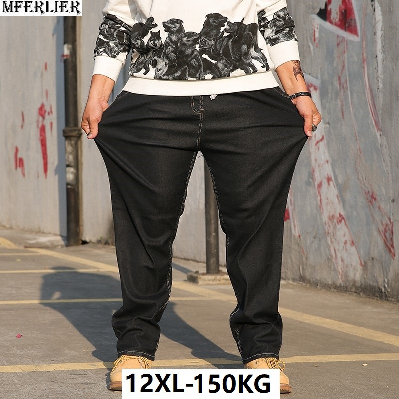 Large Size Men Jeans 9XL 10XL Winter Casual Trousers Pants High Waist High Street Elasticity Straight 8XL Jeans Autumn Stretch