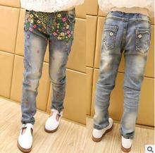 Girls 2016 new boy pants embroidered denim trousers pants feet Size 120-160