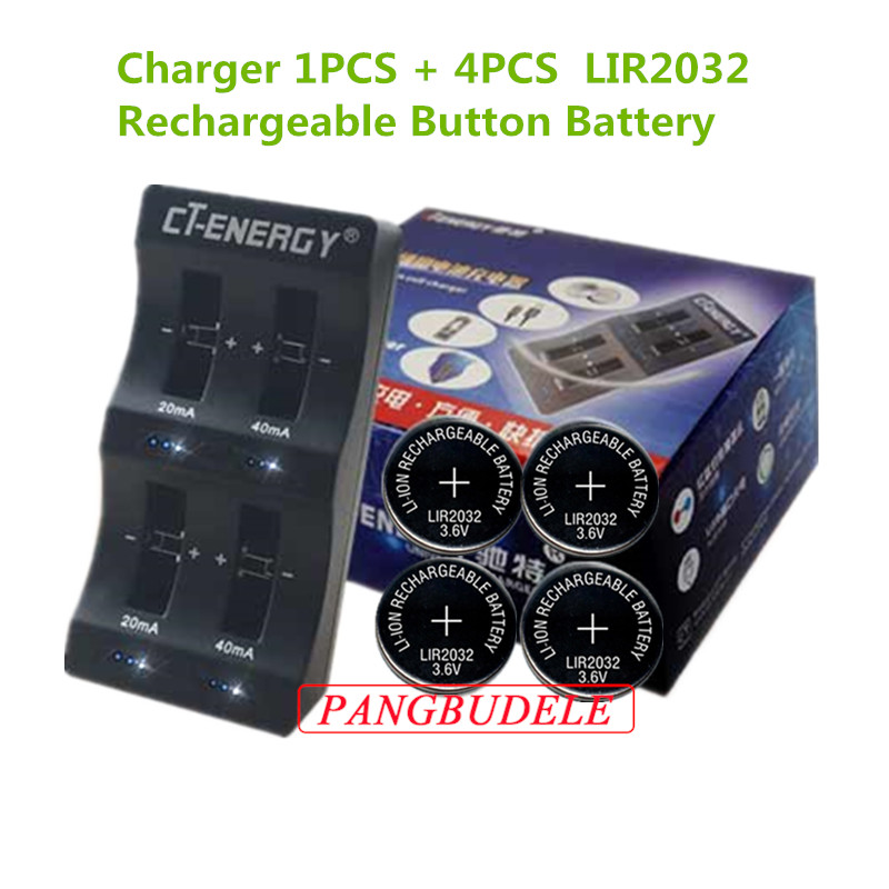 4pcs Rechargeable Button Battery Lir2032 Button Battery Batteries Able High Quality Universal Usb Interface 4-slot Charger 1pcs