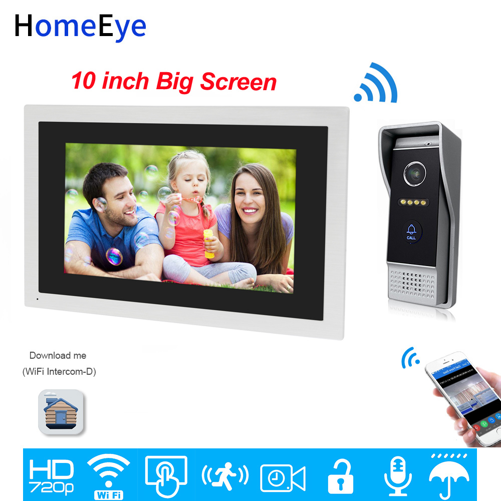 HomeEye 720P HD WiFi IP Video Door Phone Video Intercom Home Access Control System Android IOS Remote Unlock 10inch Touch Screen