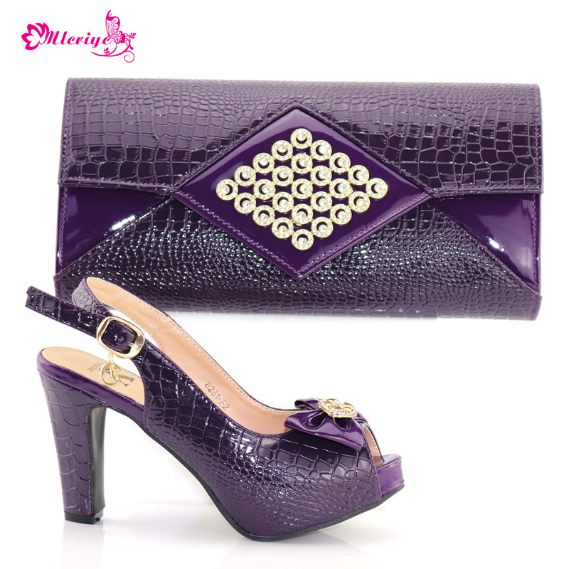 8182-F2 Latest Purple Color Italian Matching Shoe and Bag Set for Wedding Italian Shoes with Matching Bags Nigerian Women Shoes stylish hemming chain and striped printing color matching voile scarf for women