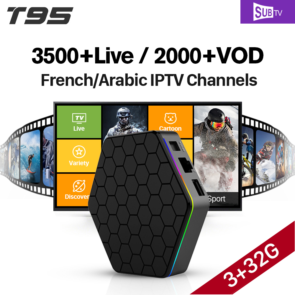 T95Z plus S912 3GB 32GB Android 7.1 Smart TV Box SUBTV IPTV 3500 Channels Turkish Germany EX-YU Albania Arabic French IPTV Box