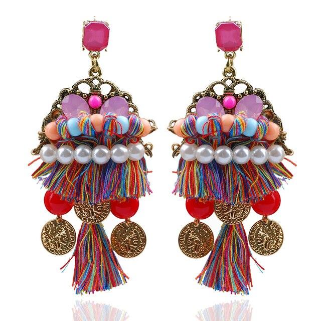 9da105f8a Ethnic Boho Earrings Long Silk Thread Earrings With Artificial Pearl Fashion  Jewelry For Women Multicolored Dangling Earrings