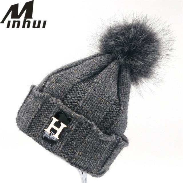 Minhui Letters H Knitted Skullies Beanies for Women Winter Hats Girls Cute Fur Pompom Hat Thick Warm Outdoor Touca Gorro Caps